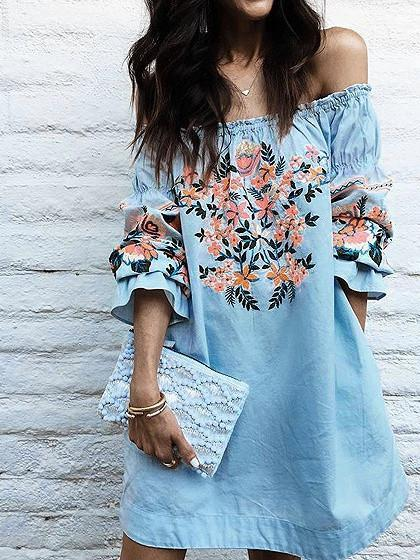 Off Shoulder Ruffle Trim Floral Print Mini Dress