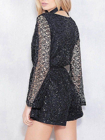 Black V Neck Sequin Lace Flare Sleeve Romper Playsuit