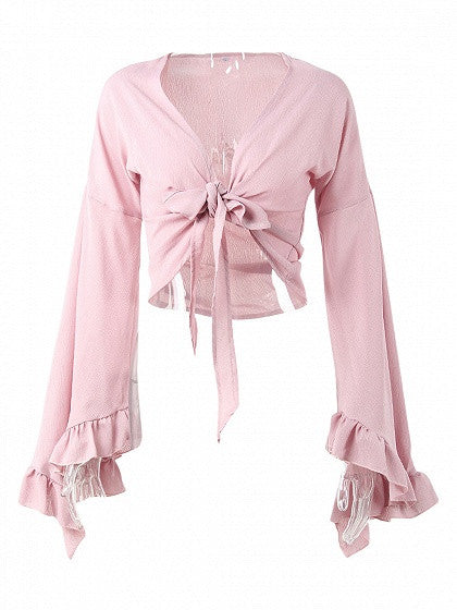 Pink Knot Tie Front Extreme Ruffle Sleeve Blouse