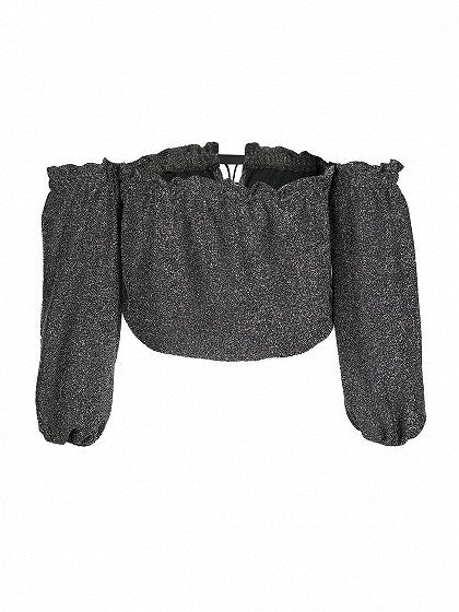 Black Off Shoulder Tie Front Metallic Yarn Crop Top