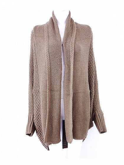 Khaki Batwing Sleeve Open Front Knit Cardigan
