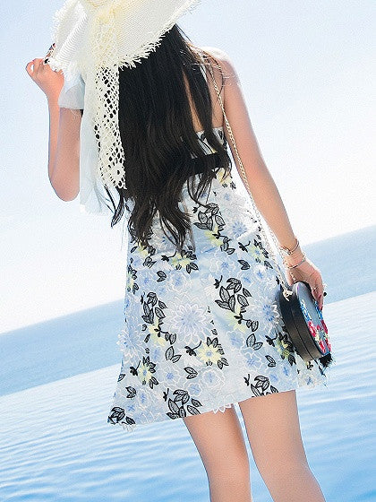Blue V-neck Embroidery Floral Spaghetti Strap Overlay Mini Dress
