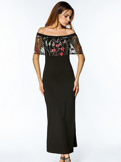 b21a0bfee9 Black Off Shoulder Embroidered Mesh Layer Maxi Dress