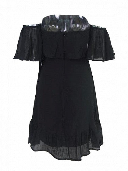 Black Off Shoulder Double Layer Ruffle Wrap Tie Side Dress