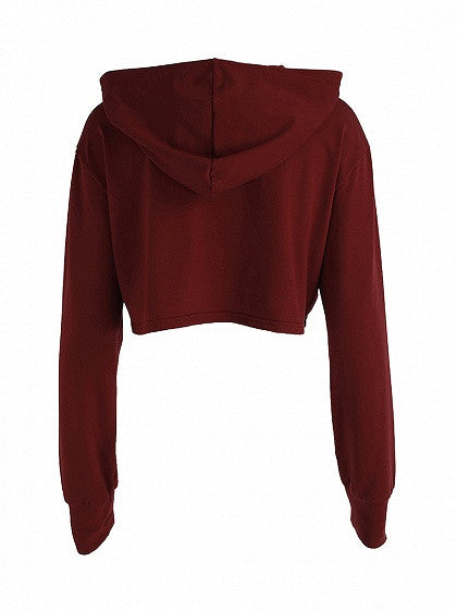 Burgundy Patch Front Drawstring Crop Hoodie