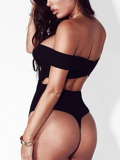 3452425940 Black Off Shoulder Lace Up Cross Back Rib Bodysuit – MYNYstyle
