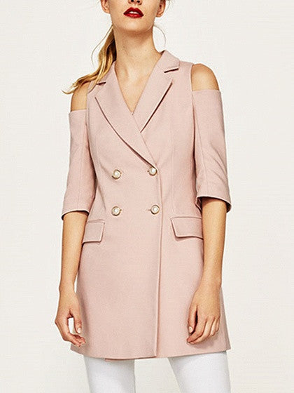 Pink Lapel Cold Shoulder Double Breasted Half Sleeve Slim Blazer