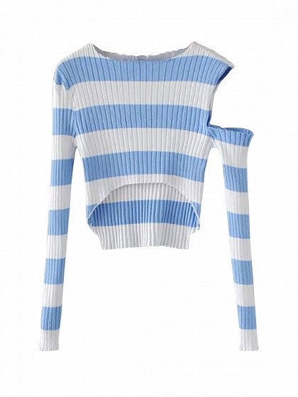 Blue Stripe Cold Shoulder Dip Hem Rib Knit Crop Top