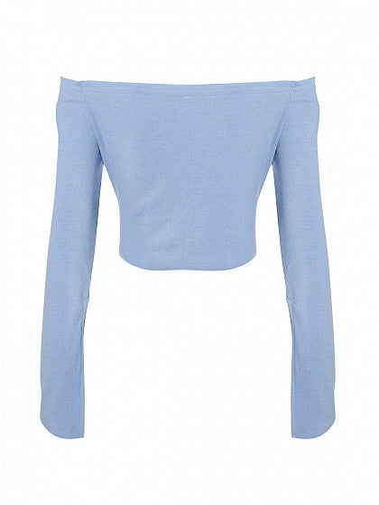 Blue Off Shoulder Split Flared Sleeve Cropped Ribbed T-shirt