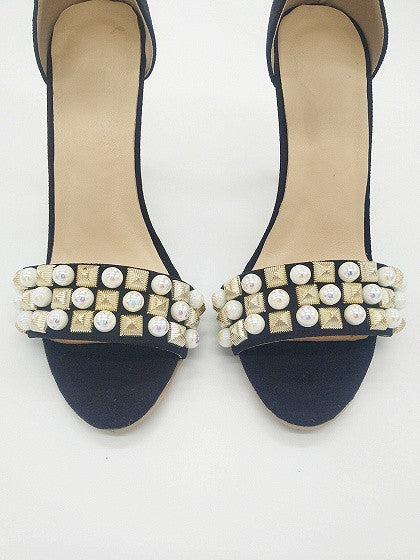 Black Suede Stud And Pearl Embellished Ankle-strap Heeled Sandals