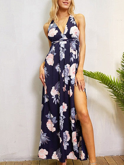 43bb707ad440a Dark Blue Plunge Floral Print Cross Strap Back Split Maxi Dress