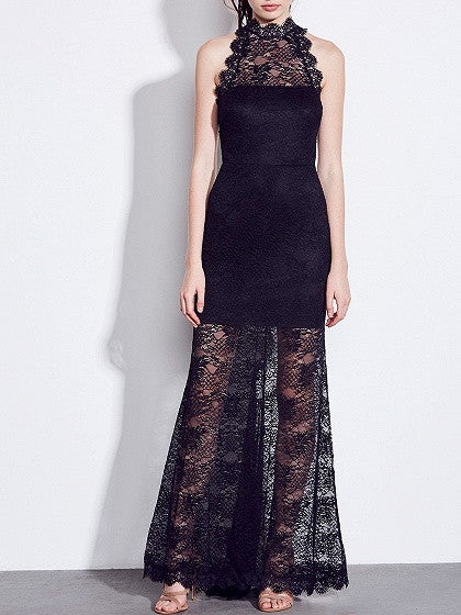 Black Halter Cut Out Back Sheer Lace Maxi Dress