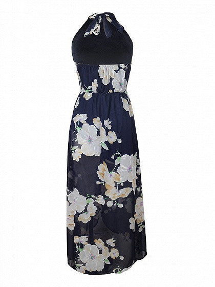 Navy Halter Floral Backless Front Split Maxi Dress