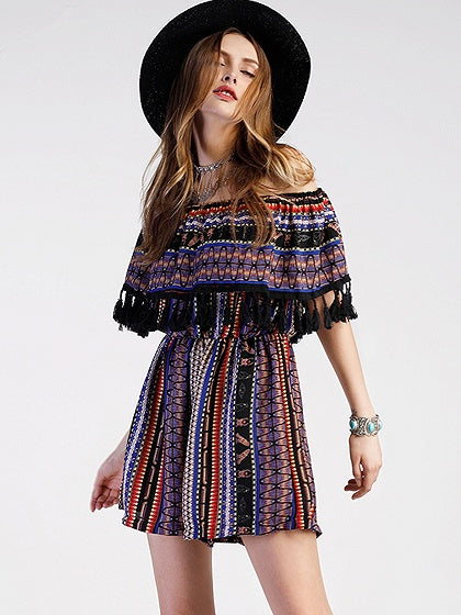 Polychrome Off Shoulder Geo-tribal Fringe Hem Romper Playsuit