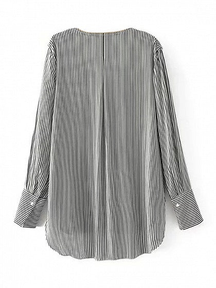 Black Stripe V-neck Ruffle Trim Long Sleeve Blouse