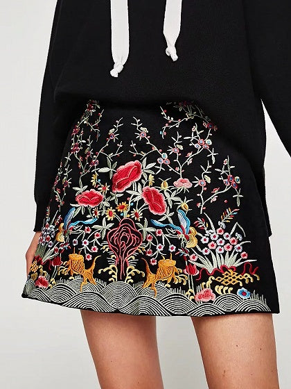 Black Embroidery Floral Mini A-line Skirt