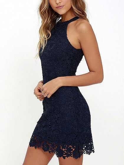 Navy Blue Halter Cut Away Shoulder Lace Dress
