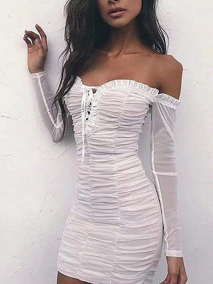 bf433465c2 White Off Shoulder Lace Up Frill Ruched Mesh Bodycon Dress – MYNYstyle