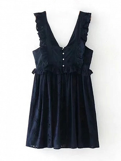 Navy Plunge V-neck Embroidery Floral Ruffle Trim Mini Dress