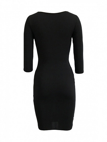 Black Lace Up Open Belly 3/4 Sleeve Bodycon Dress