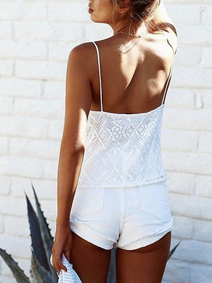 White Plunge Lace Up Front Lace Cami Top – MYNYstyle 3c1e2b07f