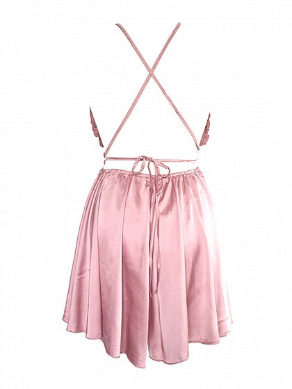 Pink Plunge Cross Back Frill Trim Romper Playsuit