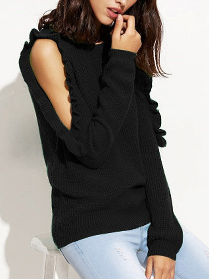 Black Frill Cold Shoulder Rib Trim Long Sleeve Sweater
