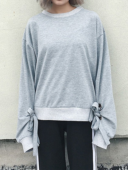 Gray Eyelet Tie Detail Long Sleeve Sweatshirt
