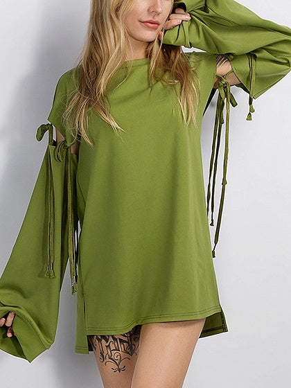 Green Lace Up Sleeve Longline Sweatshirt