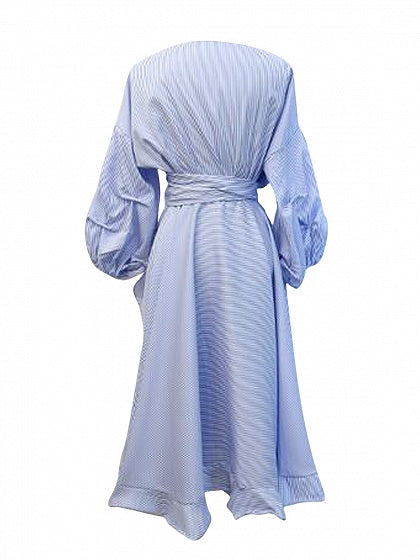 Blue Stripe Ruffle Trim Wrap Tie Waist Puff Sleeve Midi Dress