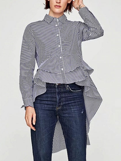 Blue Stripe Ruffle  Dipped Hem Long Sleeve Shirt