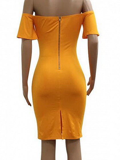 38823c62f6 Yellow Off Shoulder Tie Bow Front Cut Out Bodycon Dress – MYNYstyle