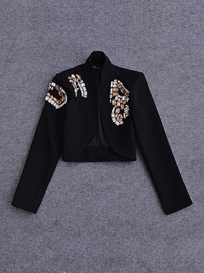 Black Stand Collar Beaded Embellished Open Front Cropped Coat