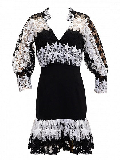 Black V-neck Cut Out Star Puff Sleeve Ruffle Hem Mini Dress
