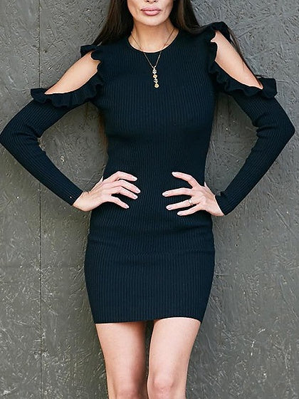 Black Cold Shoulder Frill Trim Long Sleeve Knit Bodycon Dress