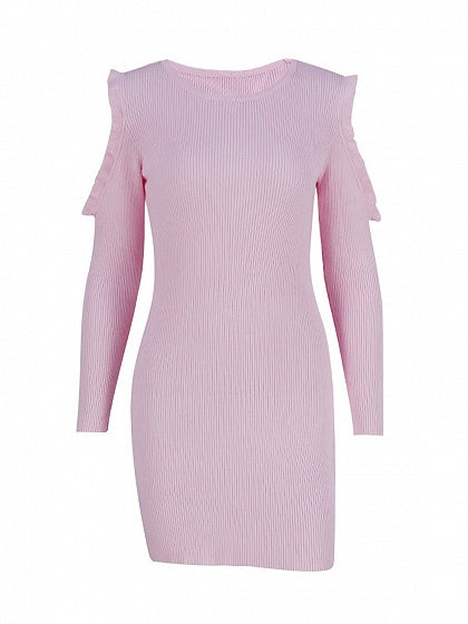 Pink Cold Shoulder Frill Trim Long Sleeve Knit Bodycon Dress