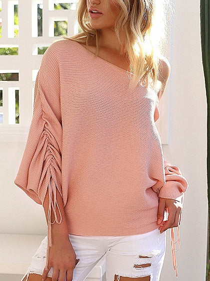 Pink Off Shoulder Drawcord Ruched Sleeve Ribbed Knit Sweater