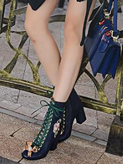Navy Embroidery Bow Embellished Contrast Lace Up Heeled Boots