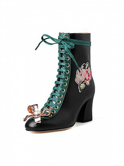 Black Embroidery Bow Embellished Contrast Lace Up Heeled Boots