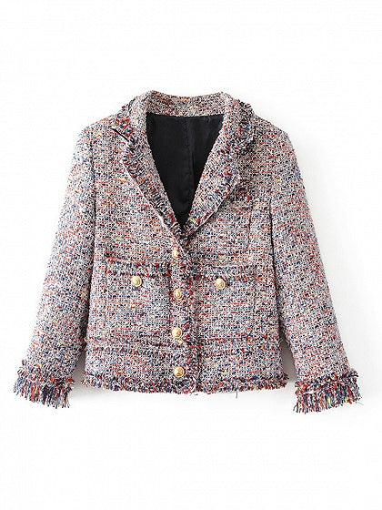 Polychrome Lapel Lapel Raw Hem Crop Coat