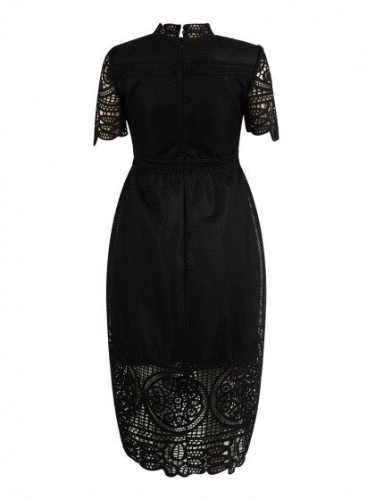 Black High Neck Short Sleeve Dipped Hem Lace Overlay Dress
