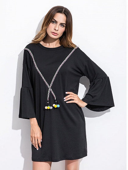 Black Flare Sleeve Pom Pom Detail Shift Dress