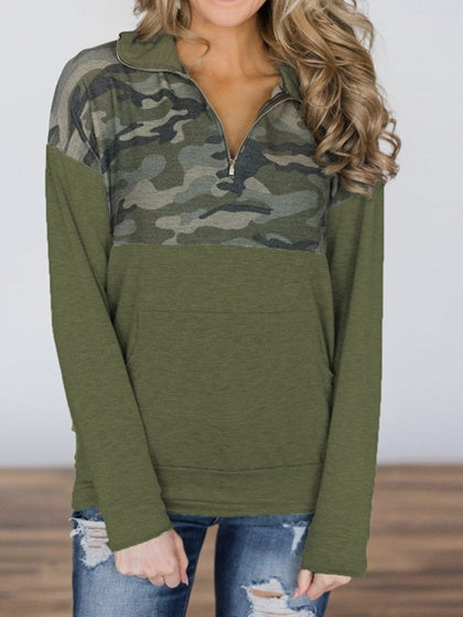 Green High Neck Camouflage Print Panel Long Sleeve Sweatshirt