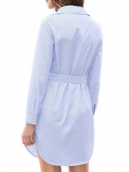 Blue Stripe Flower Patch Tie Waist Long Sleeve Shirt Dress