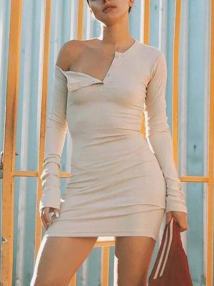 7ae4a1cfbd259 Khaki One Shoulder Long Sleeve Ribbed Bodycon Dress