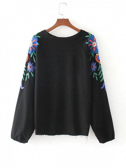 Black Floral Pattern Long Sleeve Sweatshirt