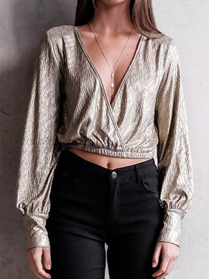 Golden Plunge V-neck Sparkle Long Sleeve Cropped Blouse