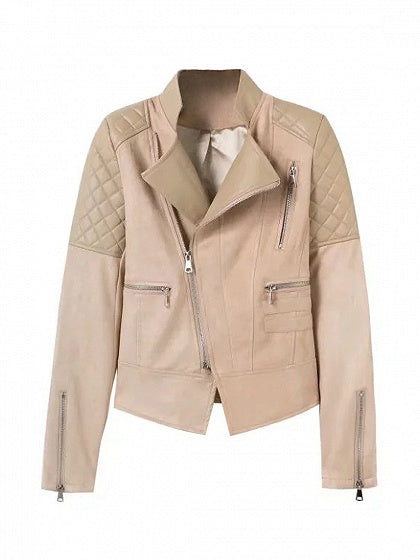 Khaki Leather Panel Quilted Biker Jacket