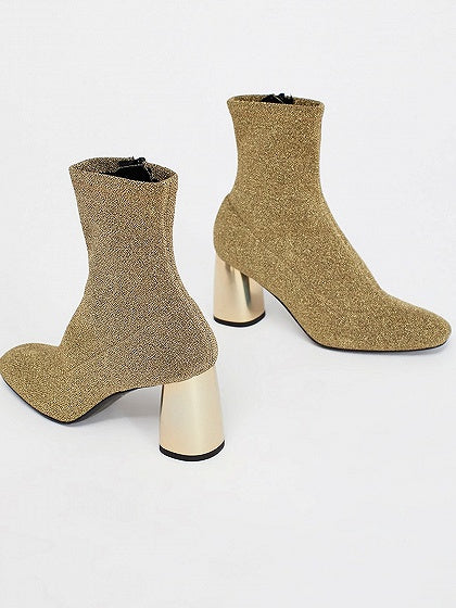 Golden Sparkle Stretch Heeled Sock Boots