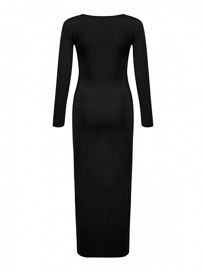 Black V-neck Long Sleeve Hi-lo Maxi Dress